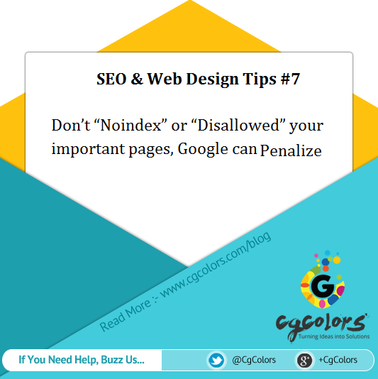 SEO Web Design Tips 'Noindex' or 'Disallowed'
