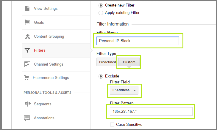 Personal IP Block in Google Analytics
