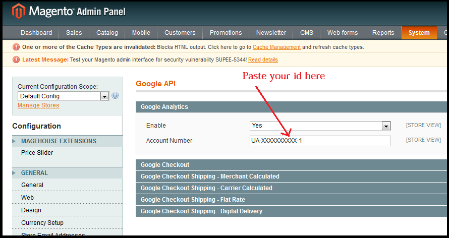 Magento Add Analytics Id