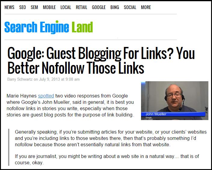Guest Blogging Links Spam