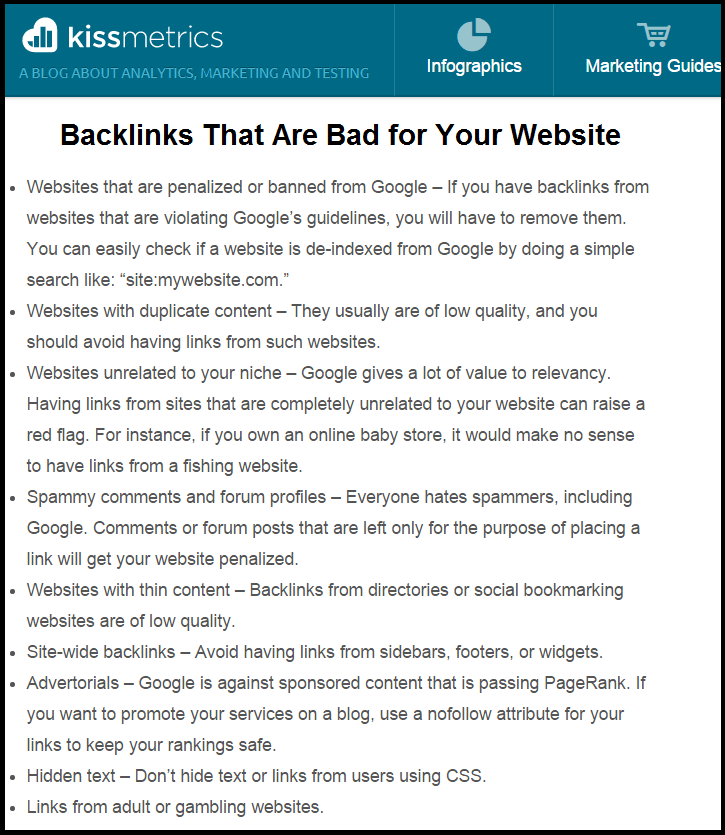 kissmetrics blog - BackLinks that are Bad for Your Website
