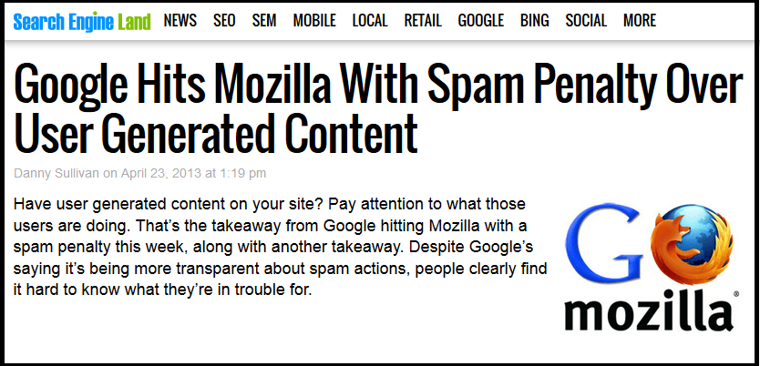 User-generated spam - Mozila