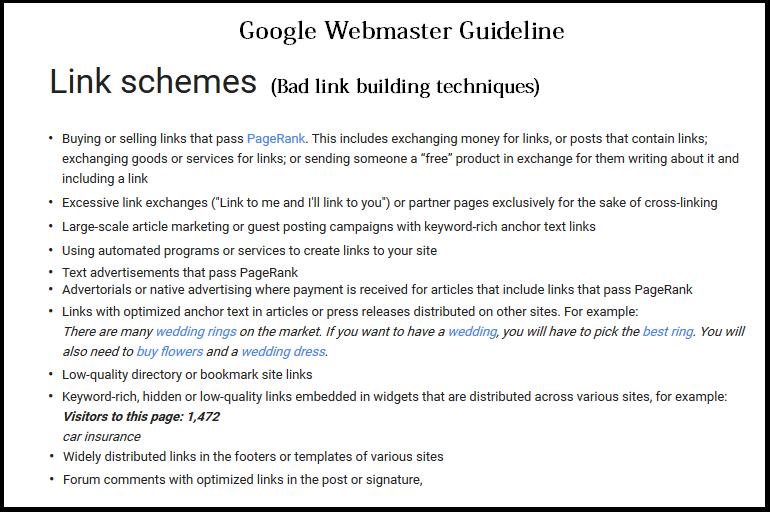 Webmaster Guideline For Links